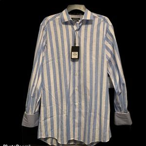 Bugatchi blue and white long sleeve buttondown